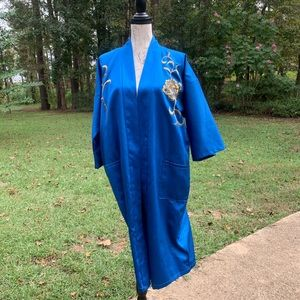 Open Kimono Royal Blue Embroidered Gold Dragons